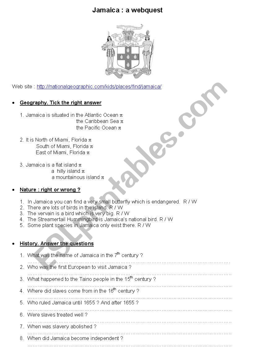 Jamaica: a webquest worksheet