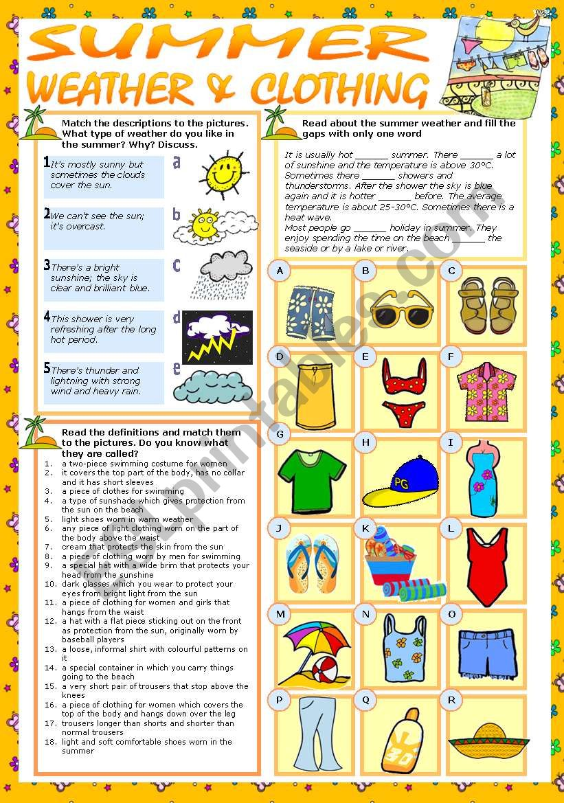 SUMMER - WEATHER & CLOTHING worksheet