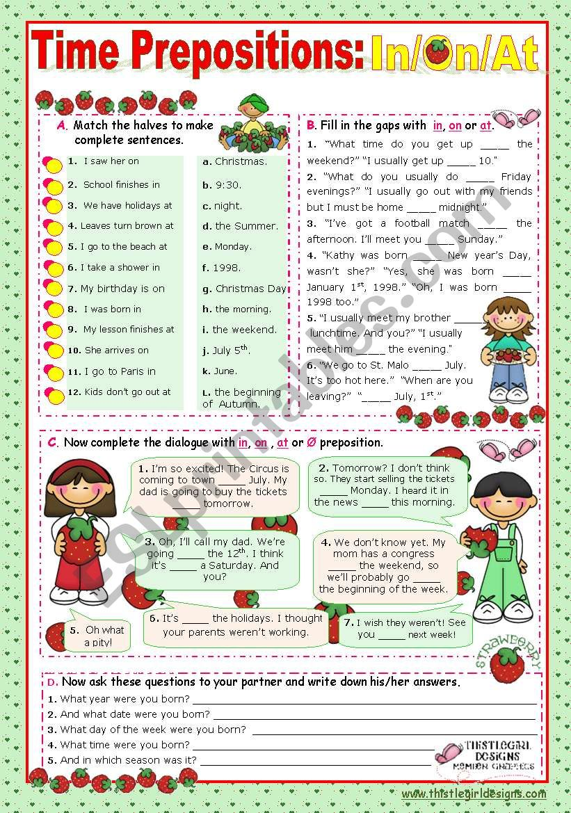 Time Prepositions:  In/ On/ At  for elementary students
