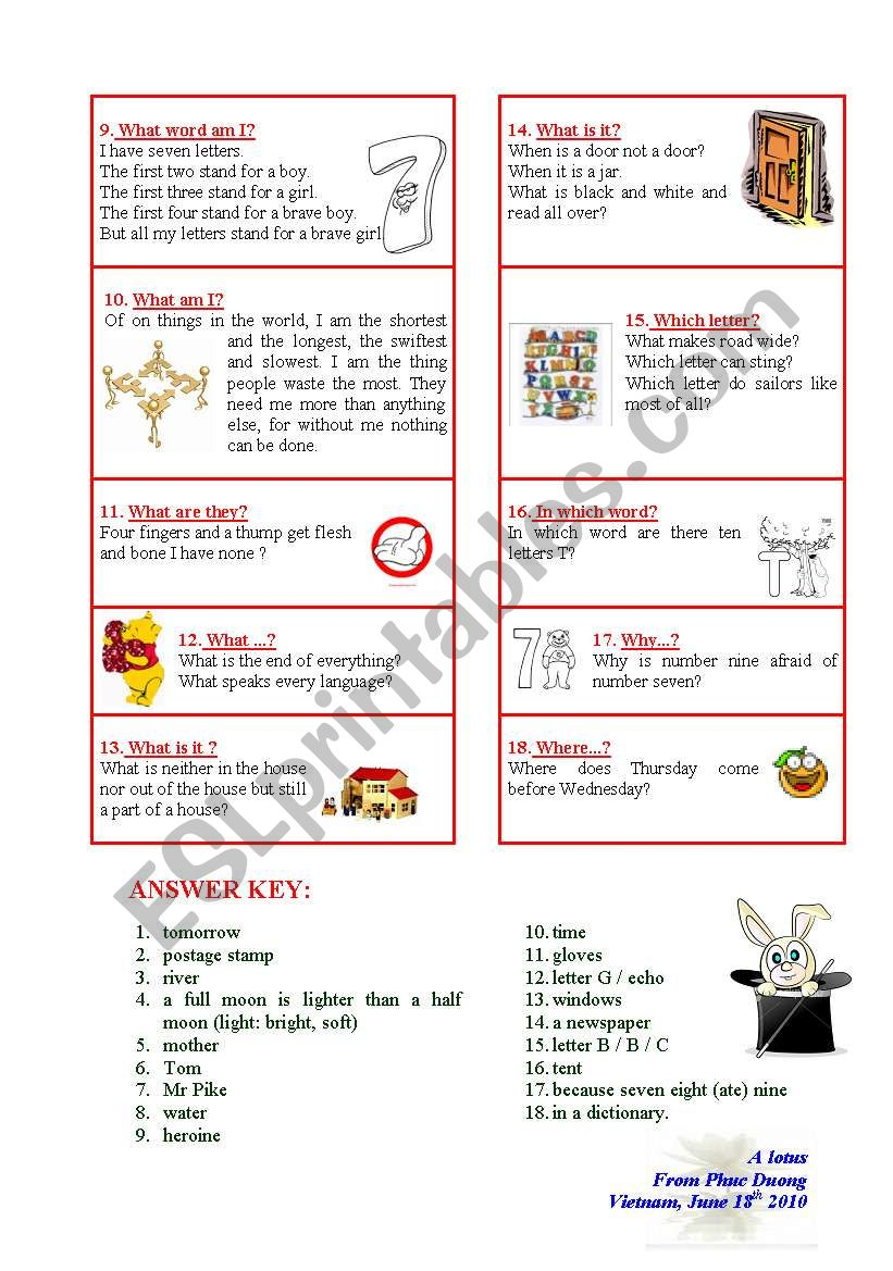 Funny RIDDLES (including answer key) - ESL worksheet by phucduong87