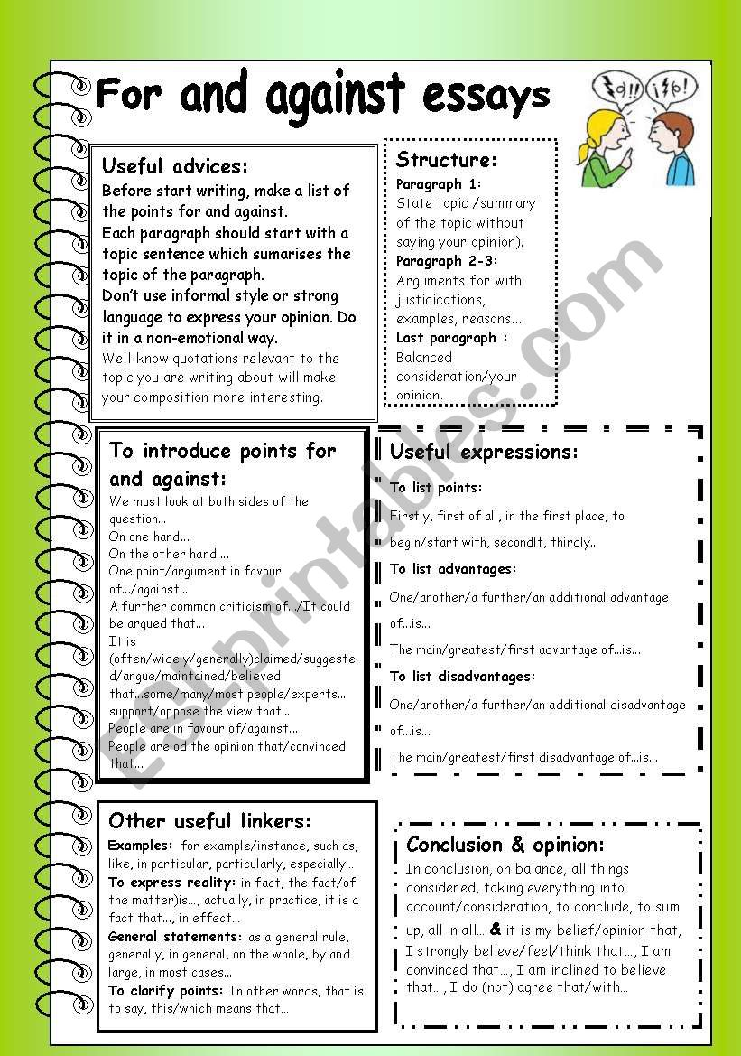 For and against essays worksheet