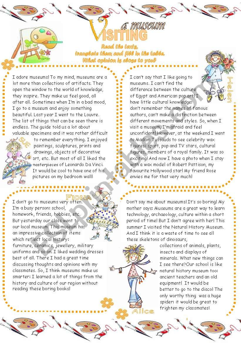 VISITING A MUSEUM (2 pages) worksheet