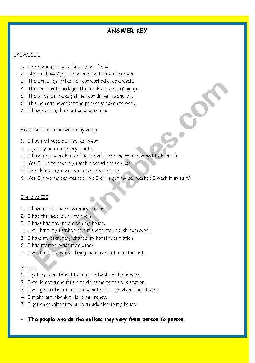 CAUSATIVE EXERCISE ANSWER KEY INCLUDED - ESL worksheet by imelda