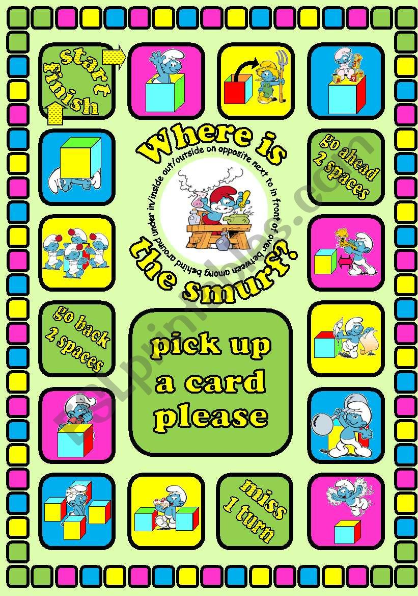 Where is the smurf? Prepositions board game + cards + instructions. Fully editable