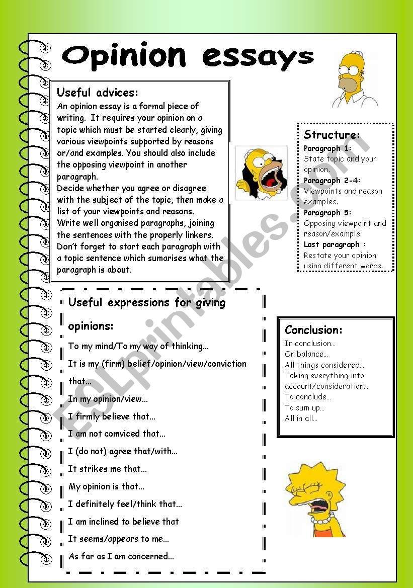 opinion essays worksheet