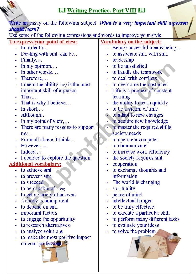 Writing practice for TOEFL/IELTS exams. Useful expressions and vocabulary. Part VIII.