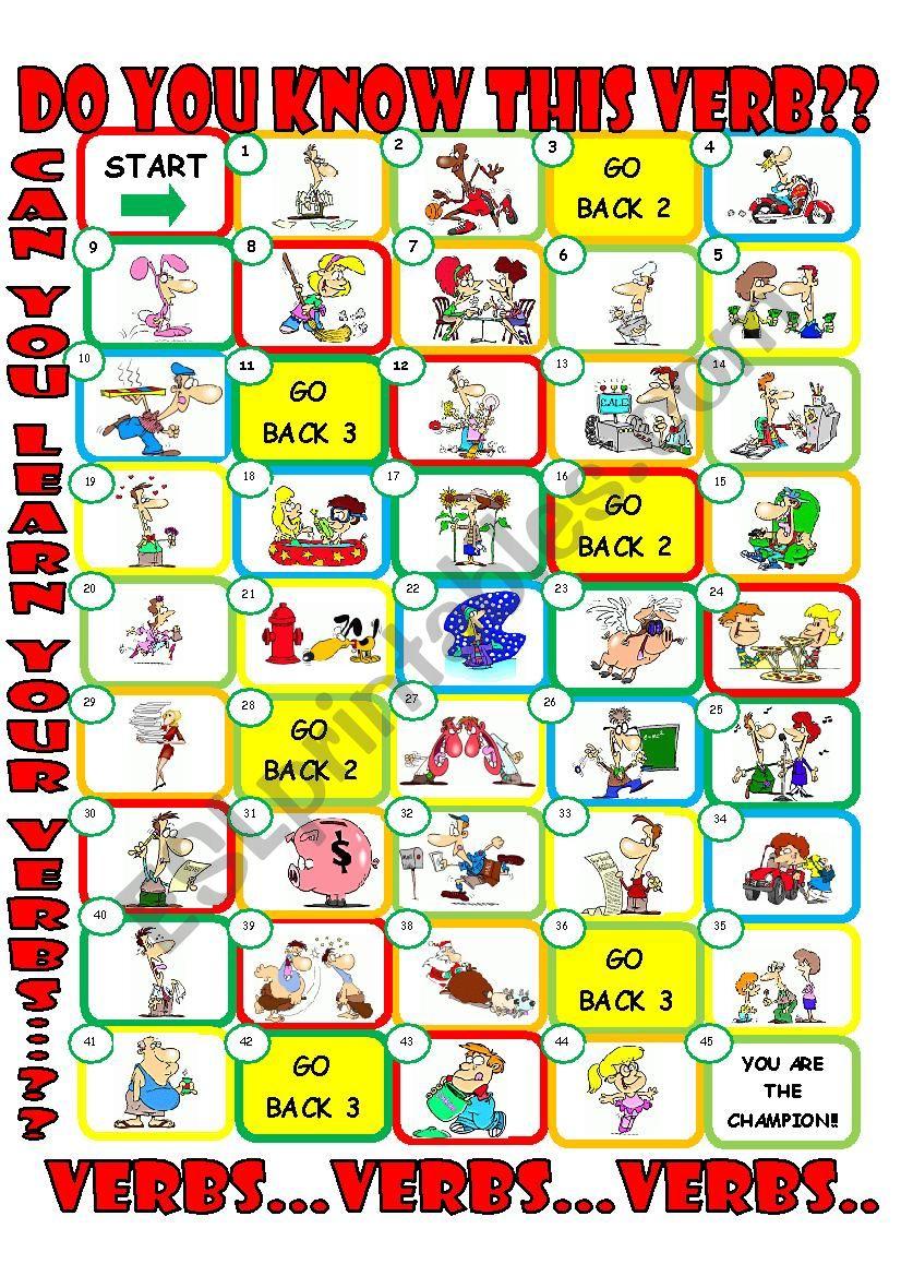 Action Board game worksheet