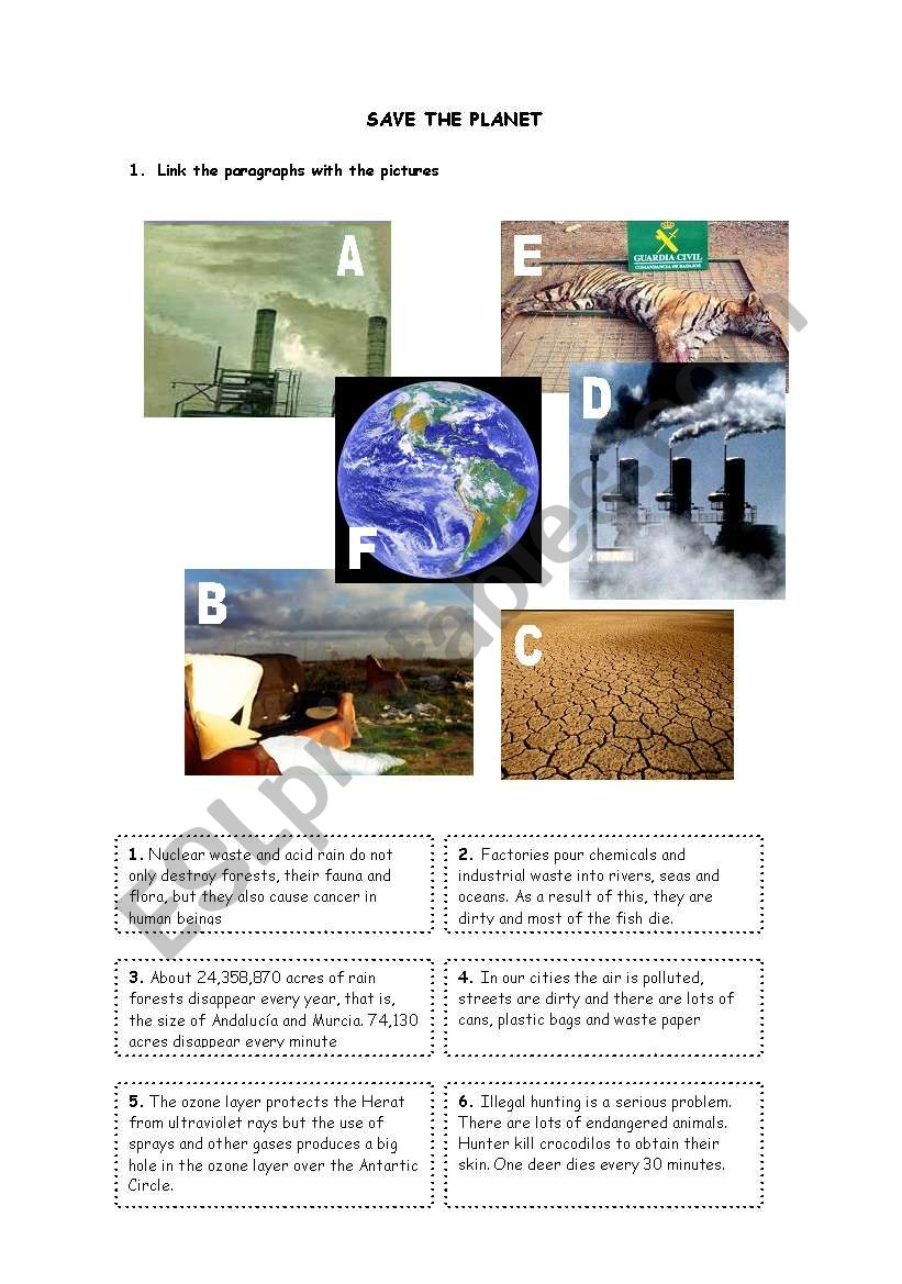 Save the planet 1 worksheet