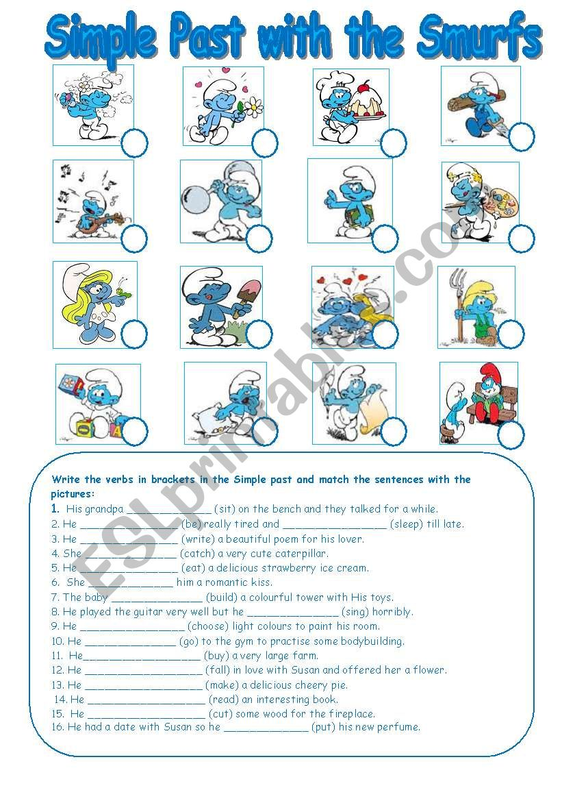 Simple Past with the Smurfs worksheet