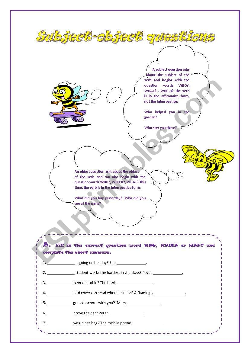 Subject-object questions worksheet
