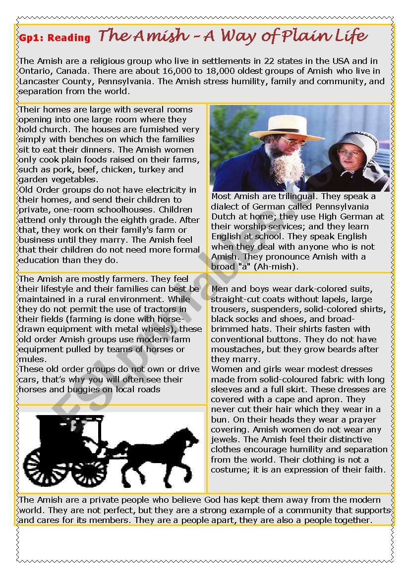 People´s way of life: the Amish