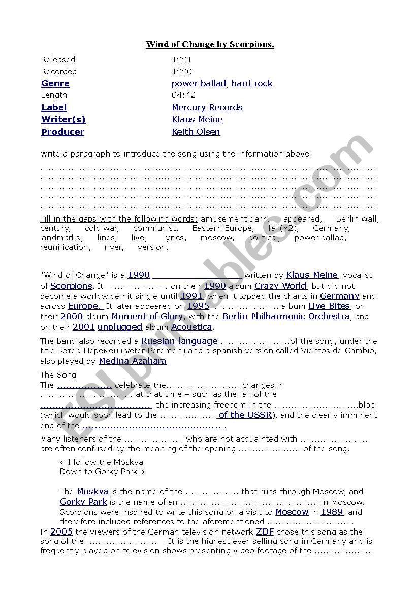 wind of change by Scorpions worksheet