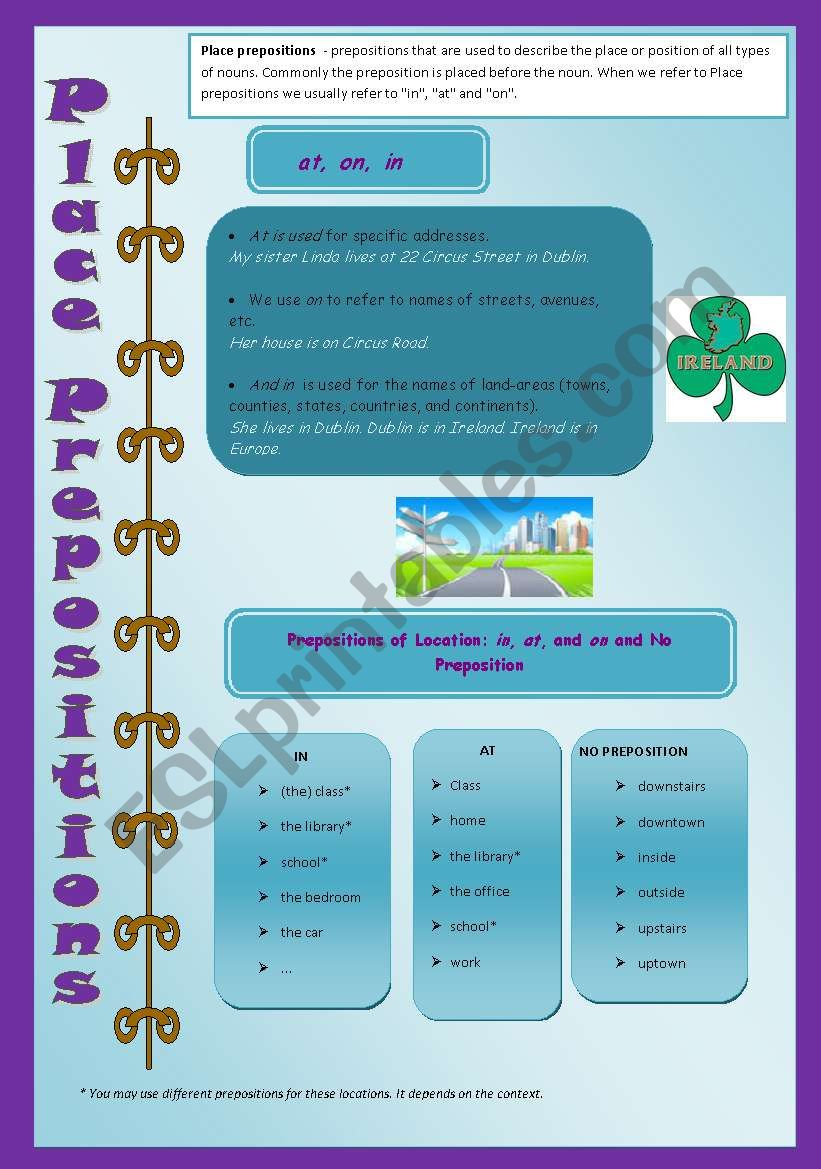 Place Prepositions - in/on/at worksheet