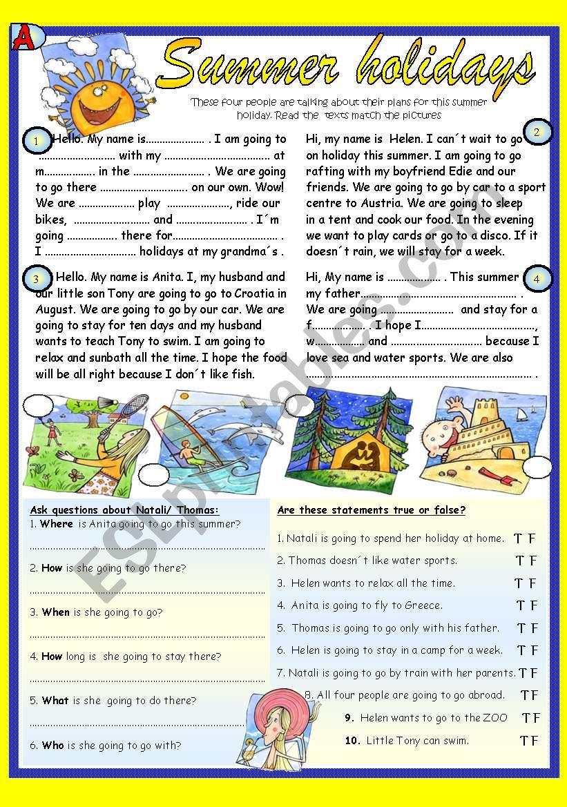 Summer holidays. Pair work reading  (BW+ Key)