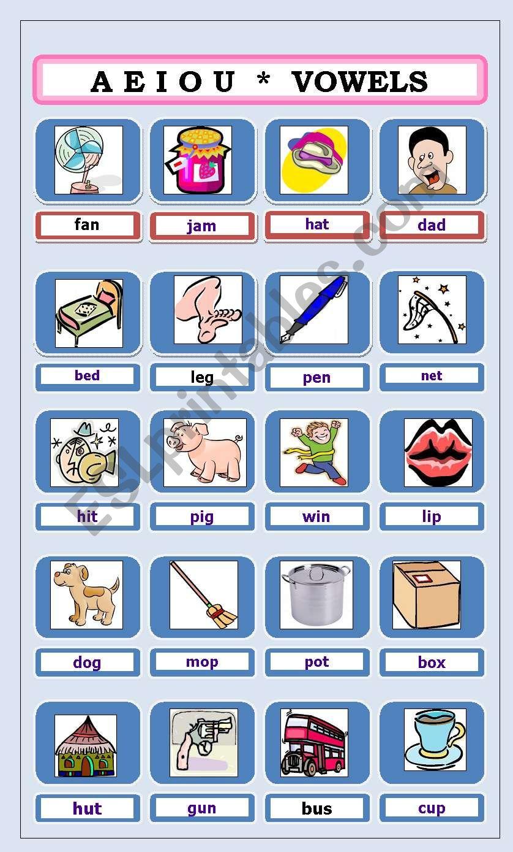 SHORT VOWELS PICTIONARY worksheet