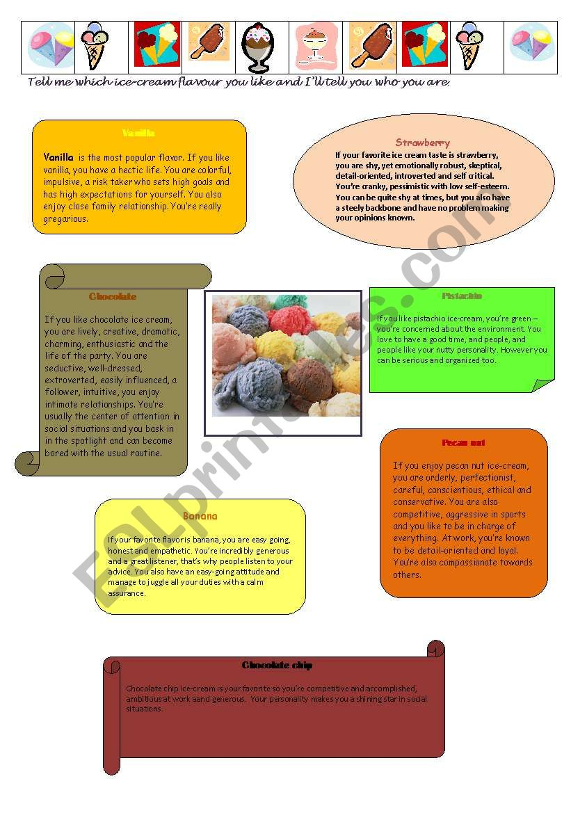 ice-cream and personality worksheet