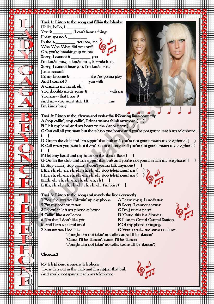 LADY GAGA and BEYONCÉ Telephone LISTENING song-based activity (FULLY EDITABLE AND KEY INCLUDED!!!)