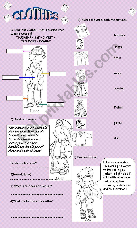 CLOTHES ACTIVITIES worksheet