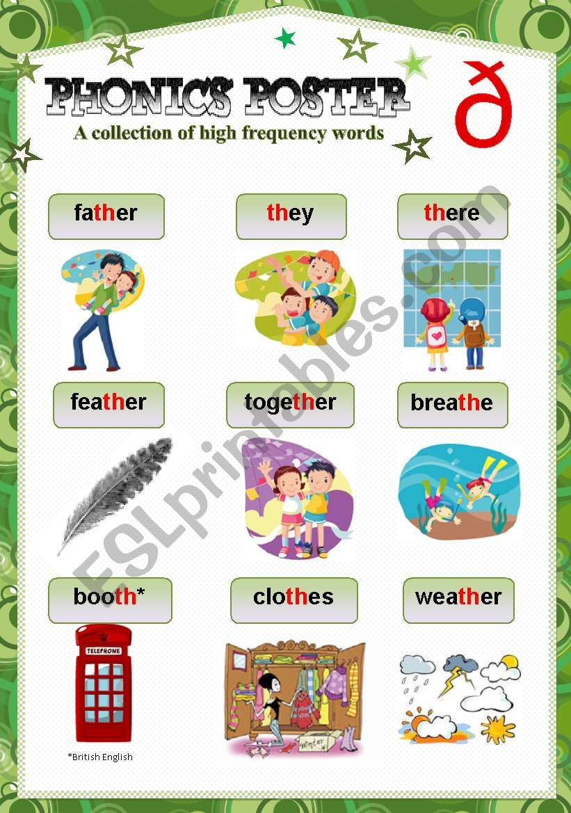 Phonics Poster 7 Th Sound Esl Worksheet By Scheffer