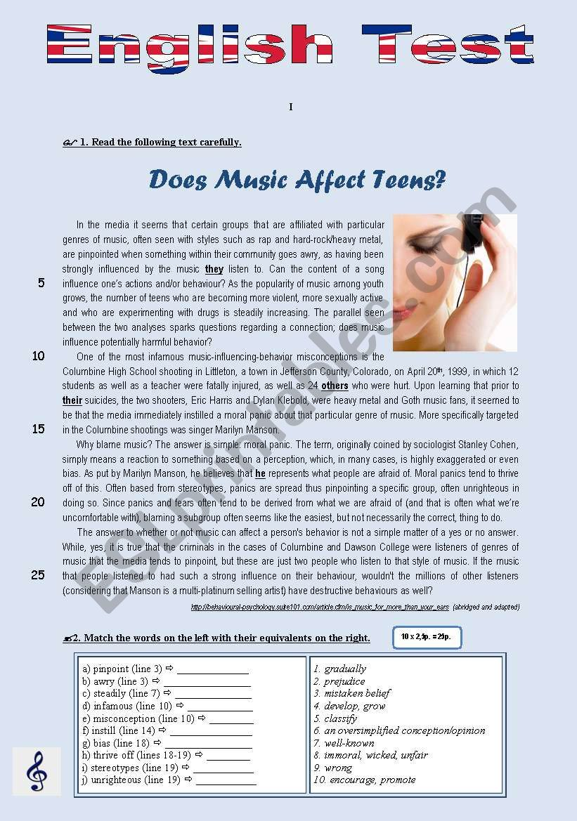 TEST - Does music affect teens? (10th grade)