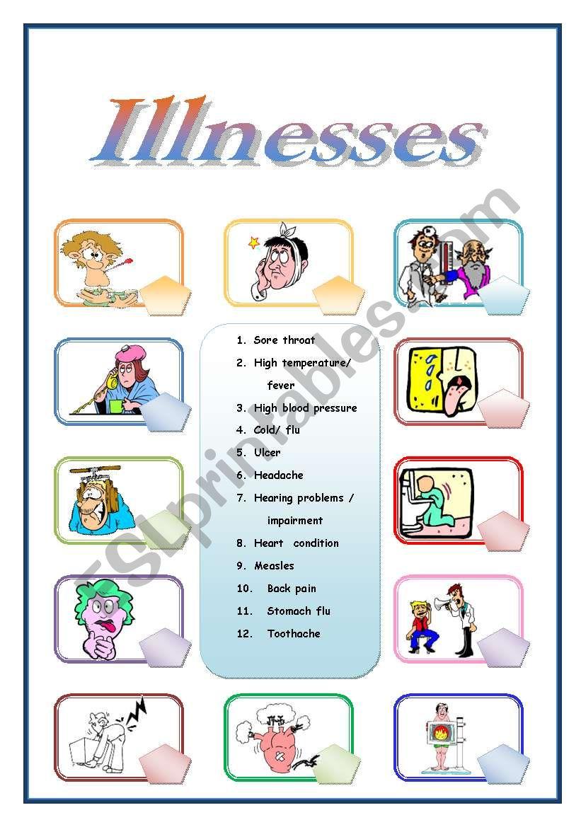 Illnesses pictionary worksheet