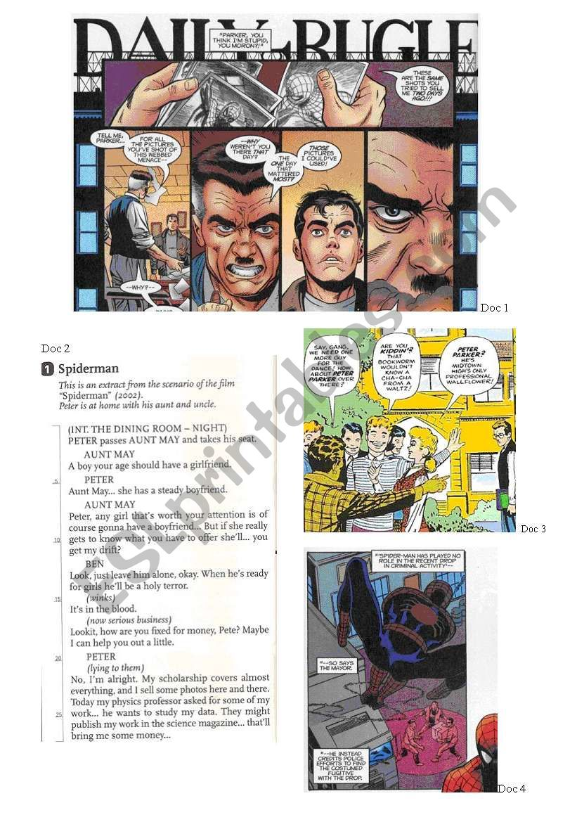 Spiderman´s portrait - physical description and description of his powers, his family, his personality... + KEY ANSWERS