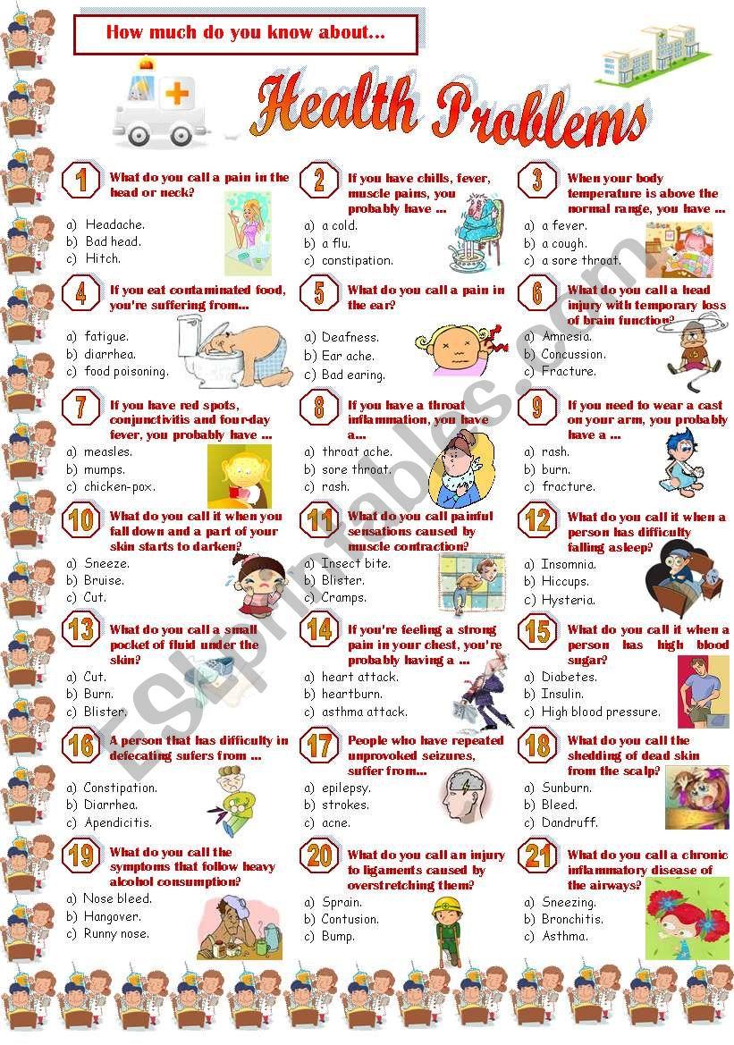 Health Problems-Quiz worksheet