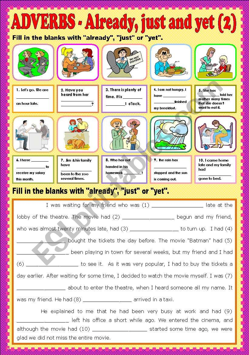 Adverbs - Already, just and yet part 2 + KEY