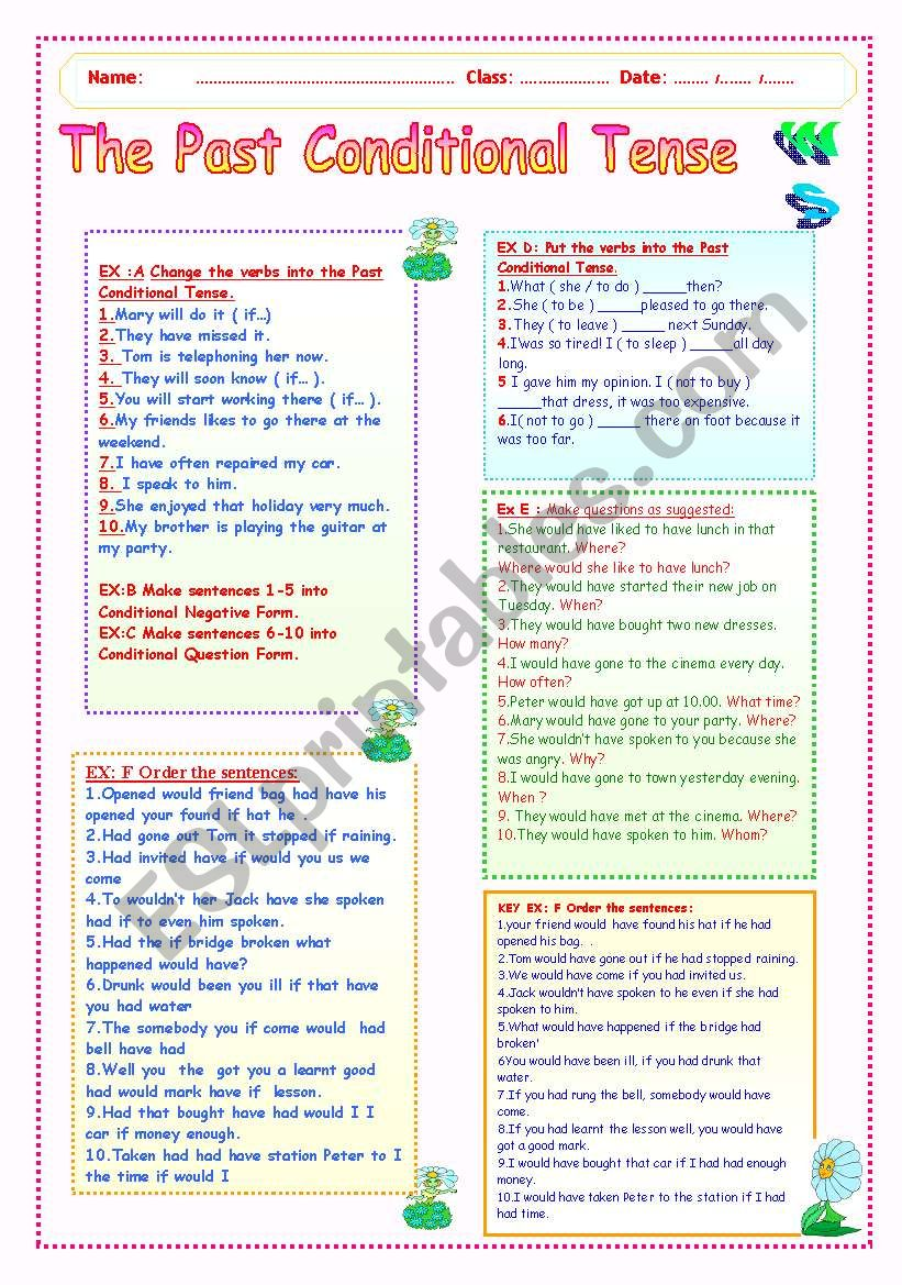 THE PAST CONDITIONAL TENSE WS worksheet