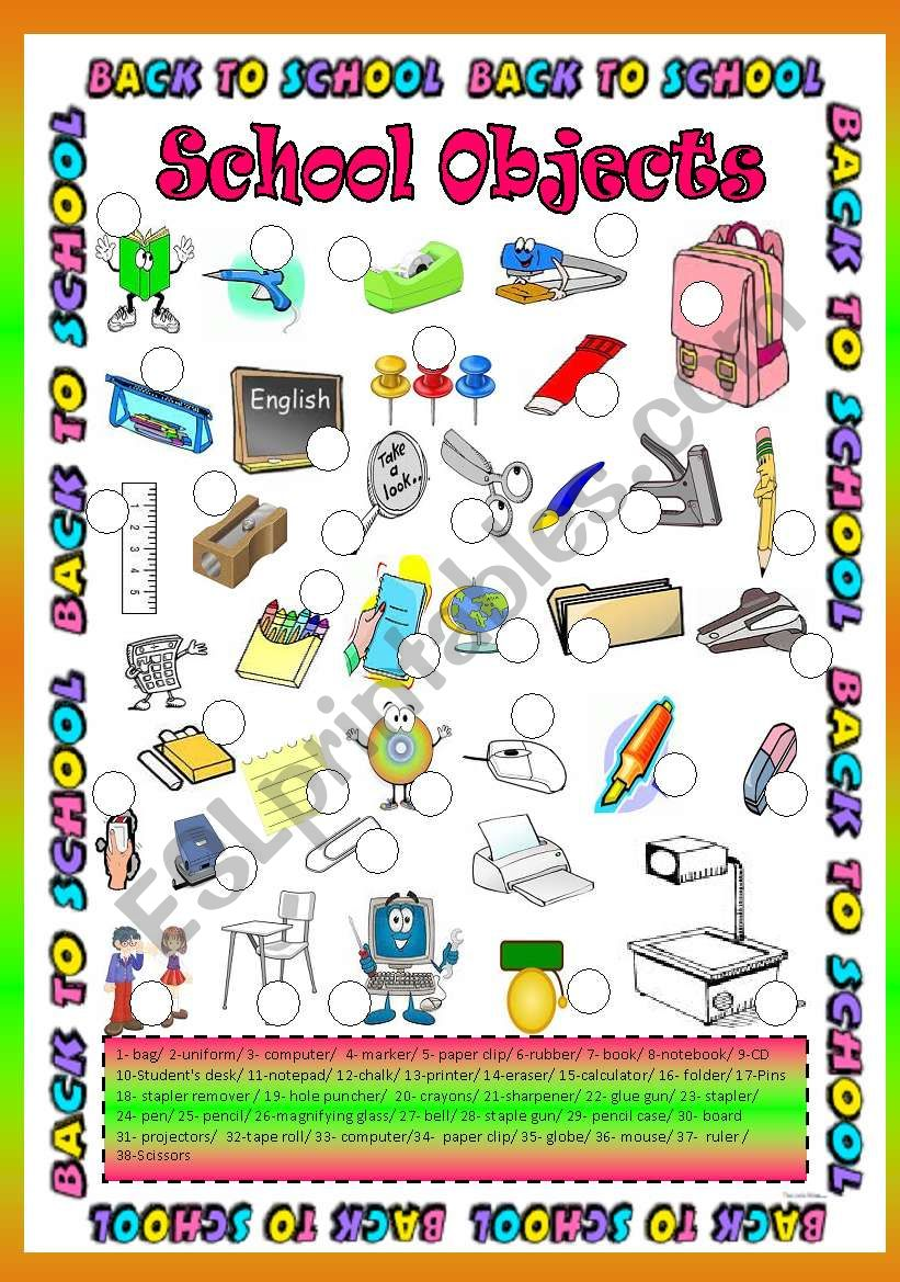 School Objects ( 38 object ) worksheet