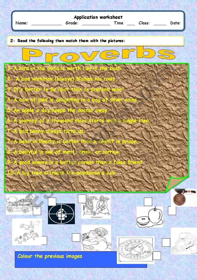 proverbs worksheet