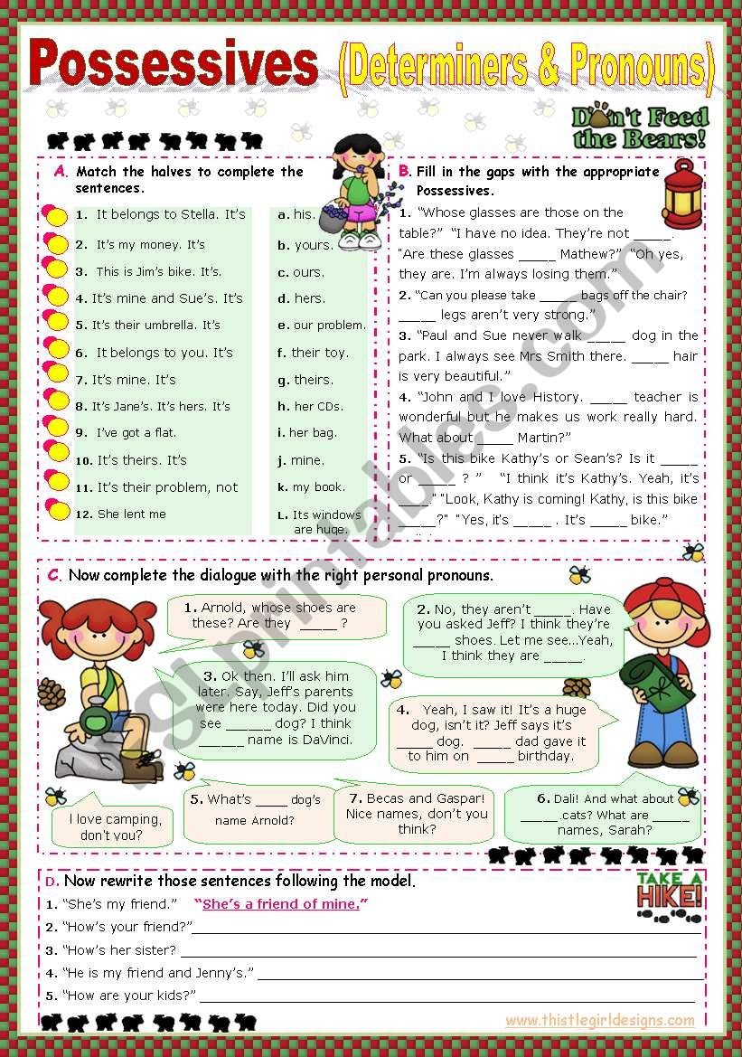 Possessives  (my, mine/  your,yours...)