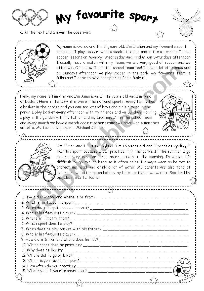MY FAVOURITE SPORT - READING worksheet