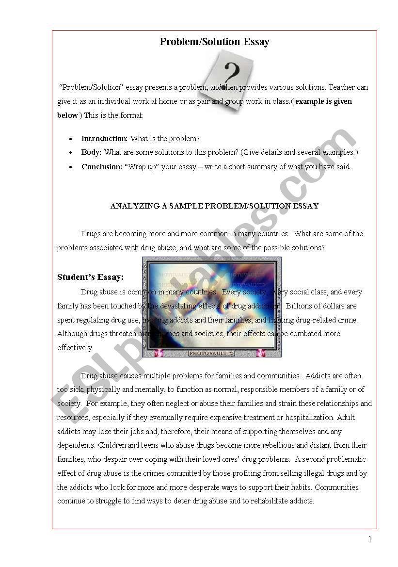 Problem Solution Essay Worksheet