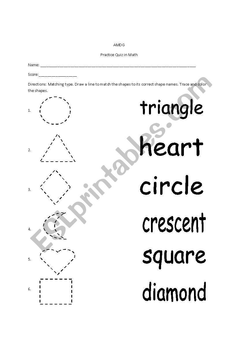 Shapes and Shape Names - ESL worksheet by teacherrisse