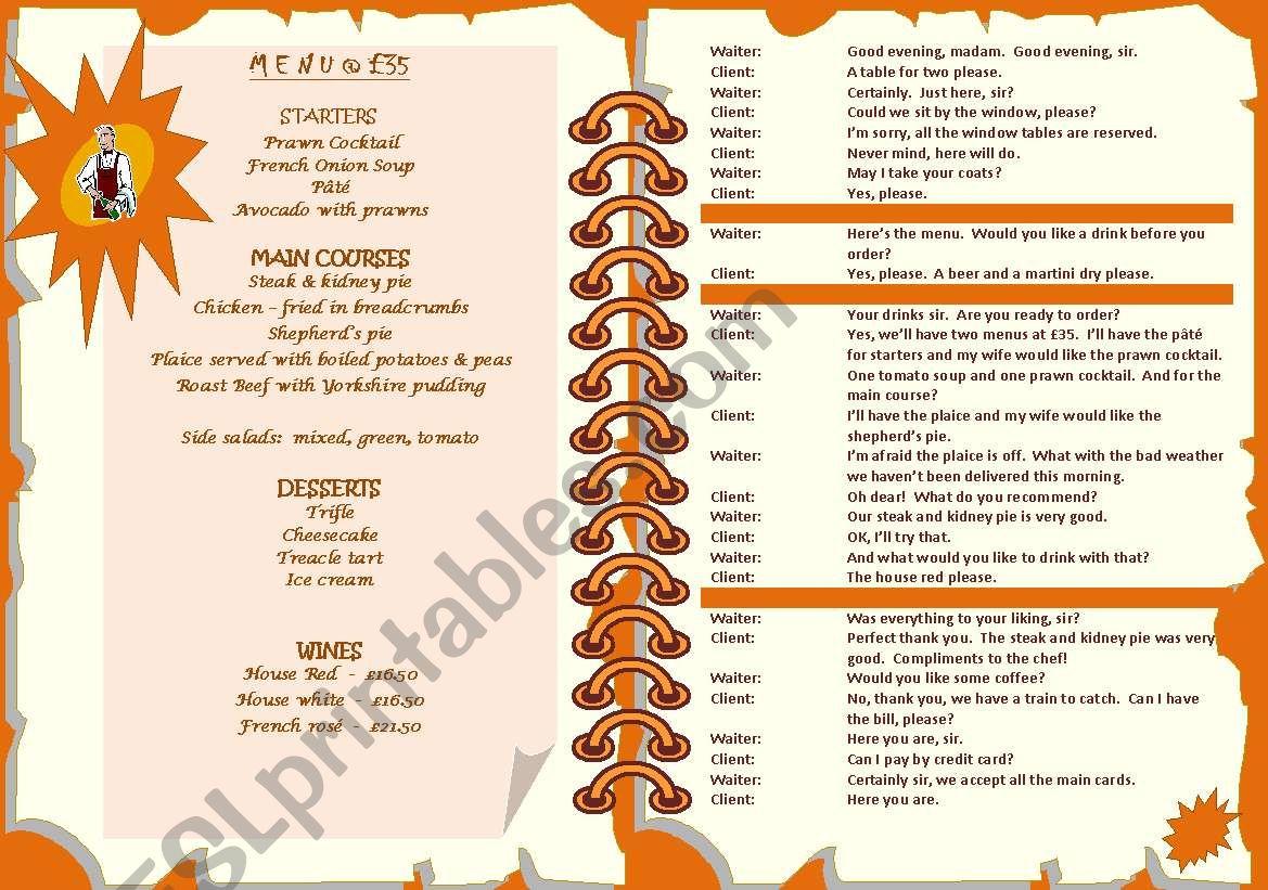 MENU & DIALOGUE - ESL worksheet by jannabanna