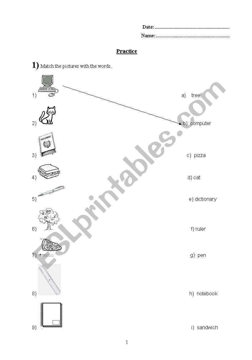 everyday and school objects worksheet