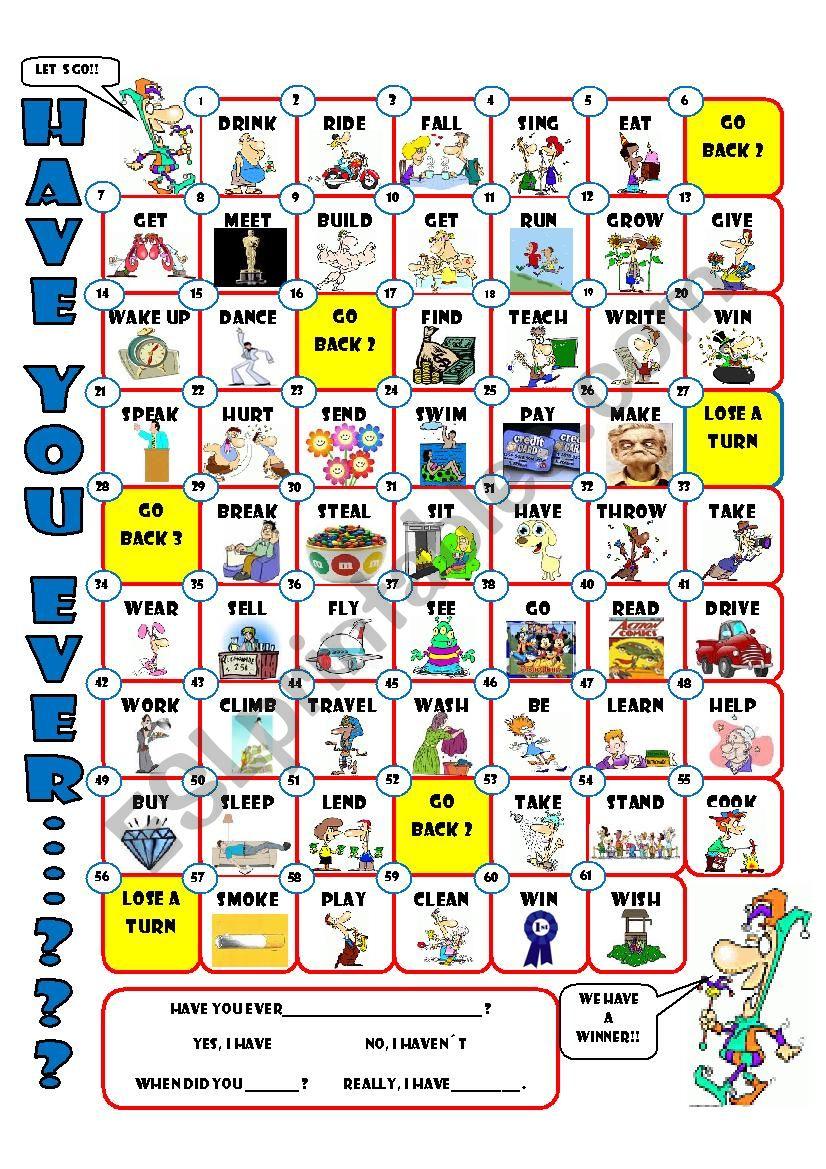 HAVE YOU EVER..... board game worksheet