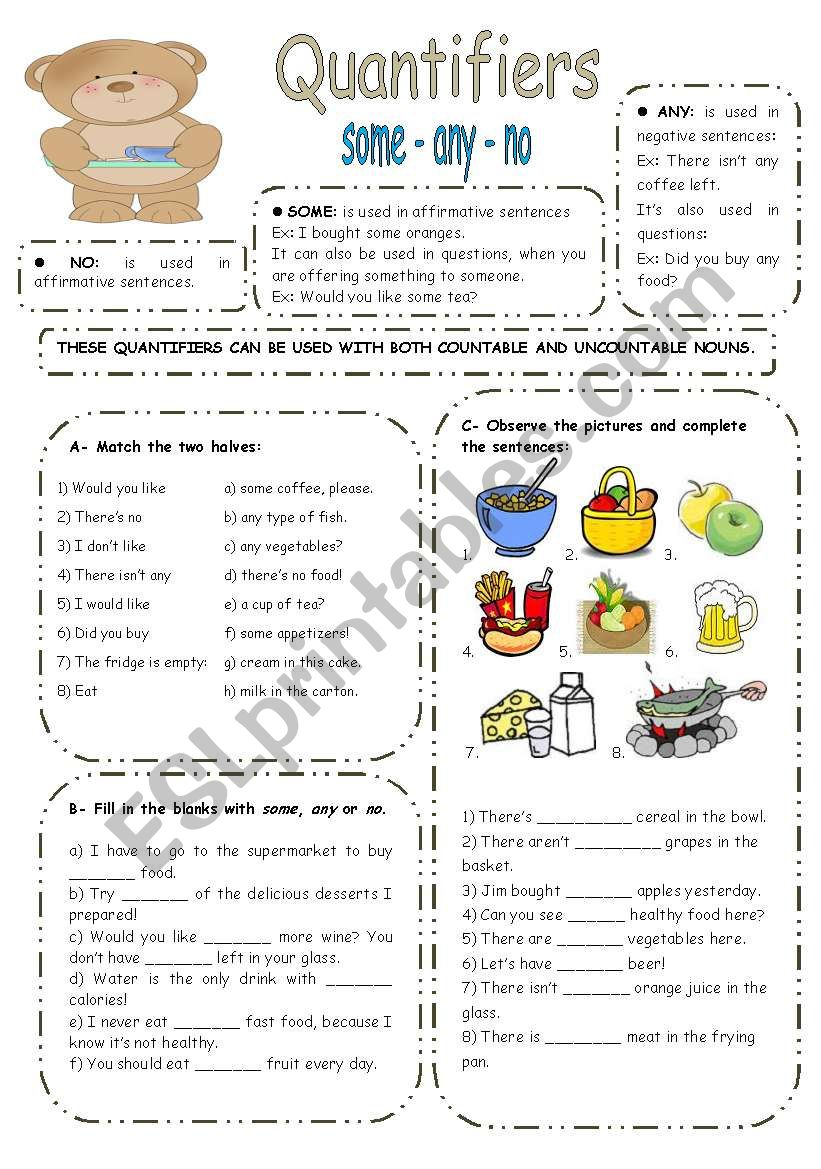 SOME ANY NO exercises - ESL worksheet by elisabeteguerreiro