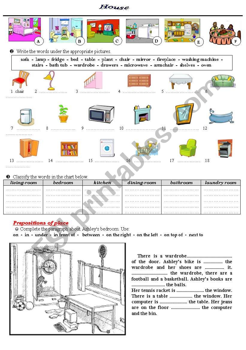 House and prepositions of place