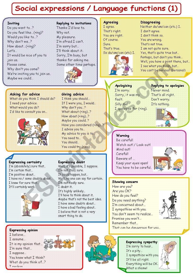 Social expressions / Language functions (1) plus B&W
