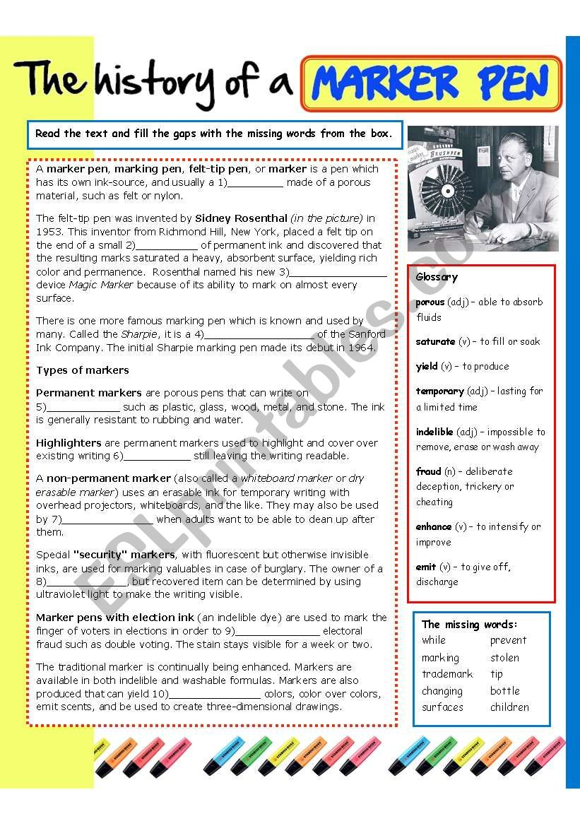 The history of a marker pen worksheet