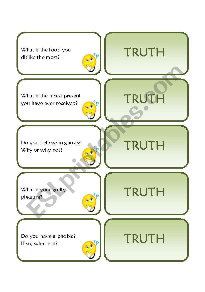 Truth Cards worksheet