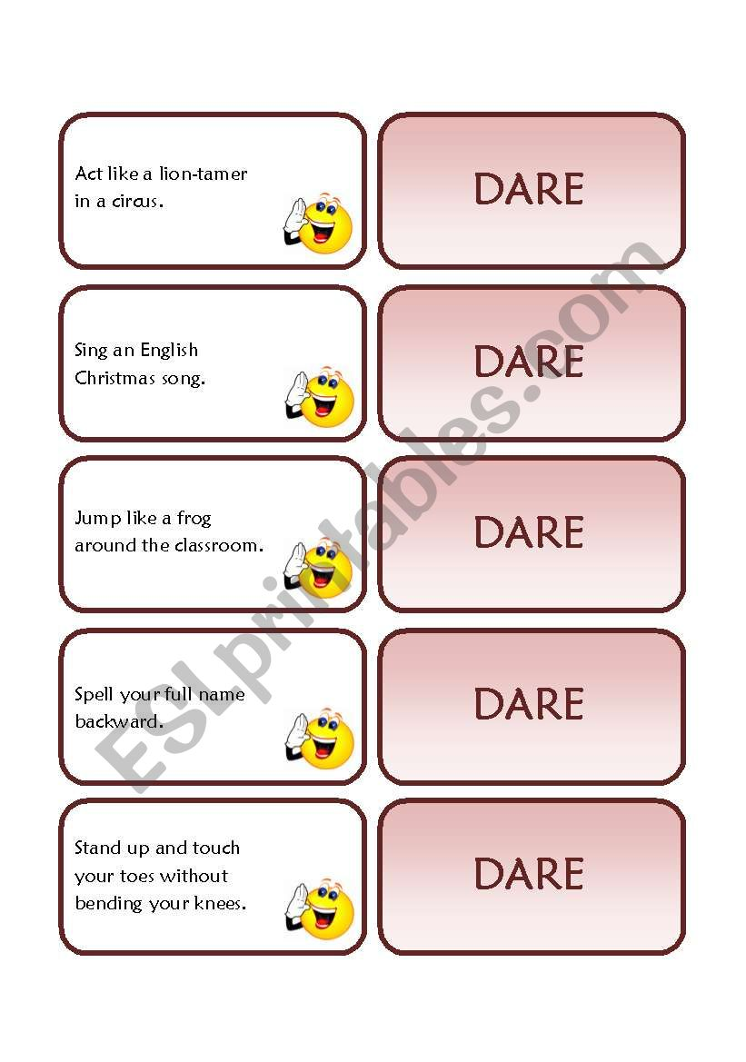 Dare Cards worksheet