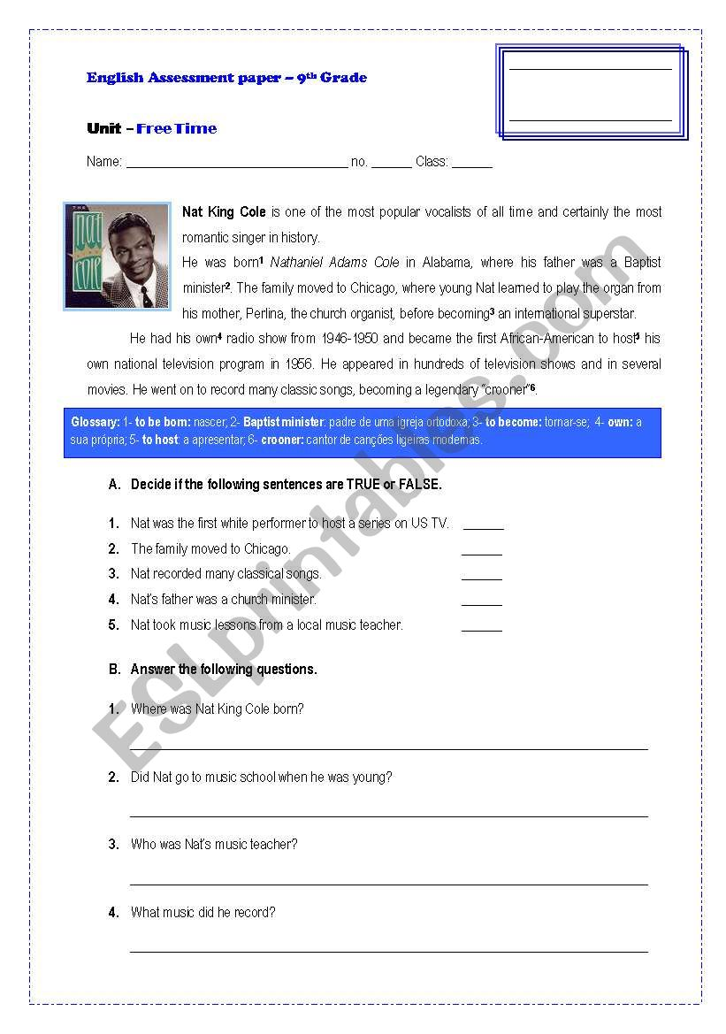 Assessement Paper-9th Grade worksheet