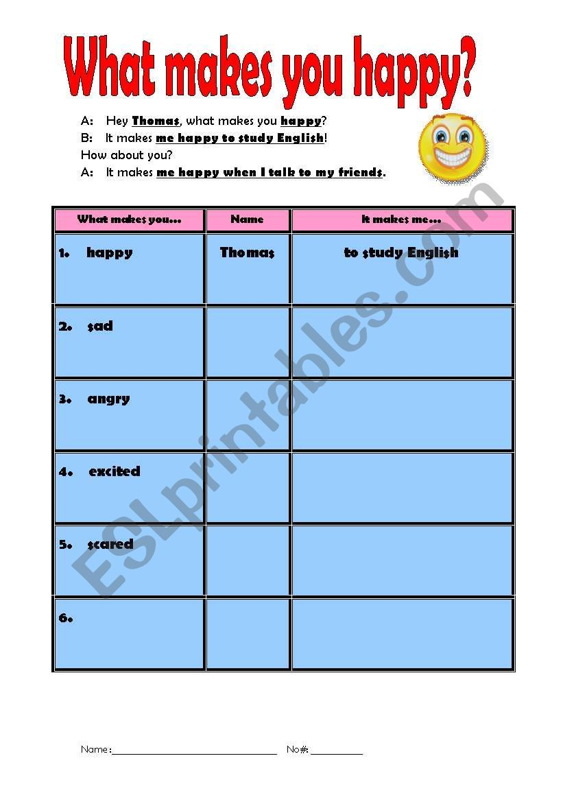 What makes you happy? Emotions interview/speaking activity! - ESL ...