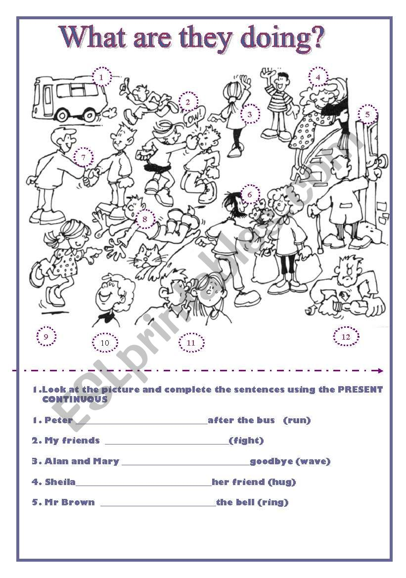 WHAT ARE THEY DOING? - ESL worksheet by Nines Picado