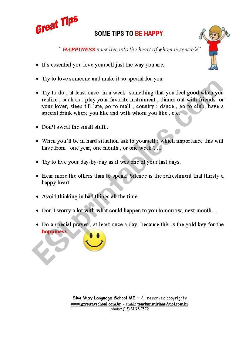 Some Tips to Be happy worksheet
