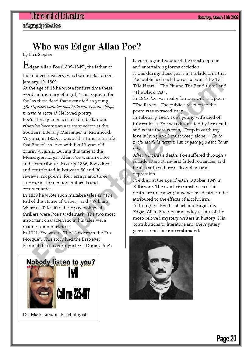 Who was Edgar Allan Poe Biography