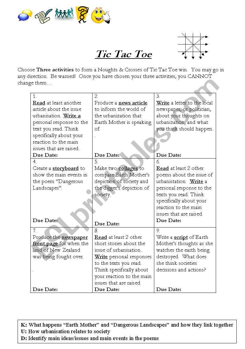 Tic Tac Toe - Urbanization worksheet